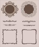 Vector Set of Calligraphic Design Elements and Page Decoration Dividers - stock illustration