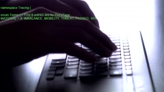 4k Hacking Programmer Text Typing Keyboard Stock Footage