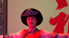 Young Female Dali Bai Chinese Dancer On Stage Stock Footage