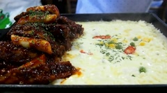 Korean Pork ribs with boiling cheese Stock Footage