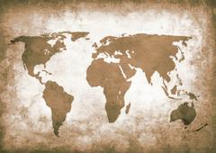 Sepia grunge world map Stock Illustration