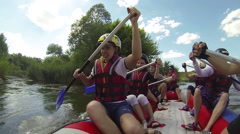 River and tourists with boats   rafting and have a fan Stock Footage