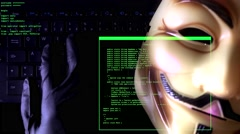 4K Online Programmer Hacking Anonymous Stock Footage