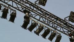 Stage lights on open air concert Stock Footage