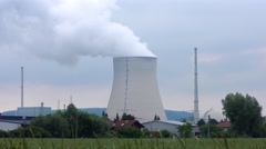 Isar nuclear power plant in Essenbach, Bavaria, Germany Stock Footage
