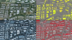 Aerial surveillance drone/UAV flyover of office park - stock footage
