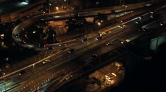 Nightly commute on Brooklyn Bridge from up high - stock footage