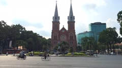 Timelapse of Notre Dame de Saigon Stock Footage