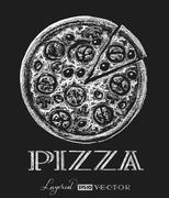 Pizza. Chalk drawing Stock Illustration