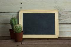 Cactus and blackboard against a wood background - stock photo