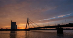 Time lapse of an epic sunset in Riga Stock Footage