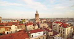 4k footage of Bosporus in the sun set having Galata tower in the middle. Camera  Stock Footage