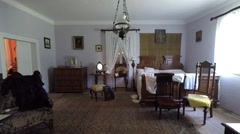 Bedroom of Suchedniow manor house in Tokarnia open-air museum, Poland Stock Footage
