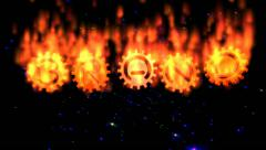 Brand gear text in flames Stock Footage
