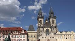 ULTRA HD 4K Tyn cathedral Prague Jan Hus monument landmark medieval church tower Stock Footage