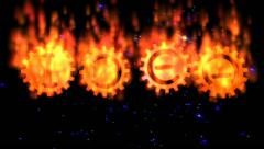 Idea gear text in flames Stock Footage