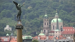ULTRA HD 4K Aerial view church tower dome angel statue Prague architecture old  Stock Footage