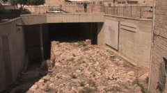 Hezekiahs' Broad Wall in the Old City of Jerusalem Stock Footage