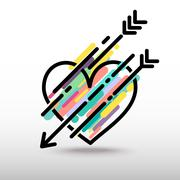 Art of heart with arrow Stock Illustration