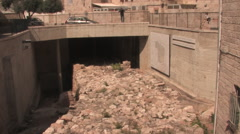Hezekiah's Broad Wall in the Old City of Jerusalem Stock Footage