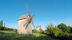 Windmills in Tokarnia open-air museum, Poland Stock Footage