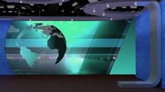 News TV Studio Set 69 - Virtual Green Screen Background Loop Stock Footage