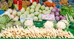 Stall with fresh vegetables Stock Photos