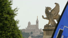 Notre-Dame de la Garde church and Lion statue in Marseille, France Stock Footage