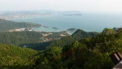 Panorama Langkawi aerial view observation deck, on the mountain peak Stock Footage