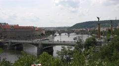 ULTRA HD 4K Panoramic view traffic car bridge Prague cityscape Vltava river icon Stock Footage