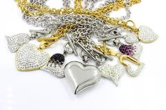 Mix Heart stainless steel with crystals Stock Photos