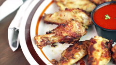 Appetizer plate with wood fired oven chicken wings. Stock Footage