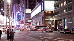 Stock Video Footage of Traffic on the street of New York near Times Square, time lapse
