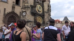 ULTRA HD 4K Crowded public square Prague landmark clock tower old town iconic  Stock Footage