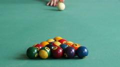 The beginning of a game of billiards Stock Footage