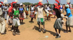 TRIBAL DANCERS POLITICAL RALLY IN SOUTH SUDAN, AFRICA Stock Footage