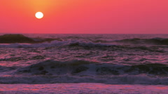 Sunset over Ocean Surf. Slow Motion - stock footage
