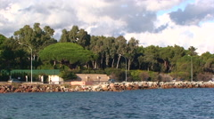Pan right on Sainte Maxime coastal road, Saint Tropez area Stock Footage