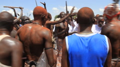 TRIBAL DANCERS AT POLITICAL RALLY IN SOUTH SUDAN, AFRICA Stock Footage