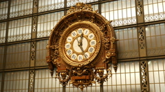 Antique Gold clock at Museum d' Orasy Stock Footage
