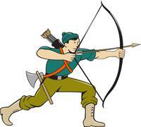Archer Aiming Long Bow Arrow Cartoon Stock Illustration