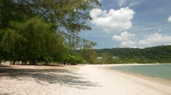 Paradise beach from tree umbrage to aquamarine waters, panning shot - stock footage