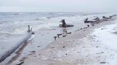 Baltic sea during a winter storm Stock Footage
