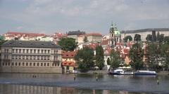 ULTRA HD 4K Pan right Prague landmark famous castle Charles bridge tourism icon Stock Footage