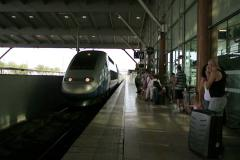 Train arriving in Aix-en-Provence TGV train station, France - stock footage