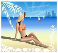 a girl on a beach - stock illustration