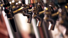 Close up of beer lines for draft beer in restaurant. Stock Footage