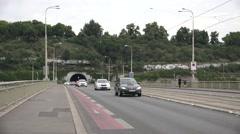 ULTRA HD 4K Traffic street Prague bridge multiple lane commuter transport car  Stock Footage