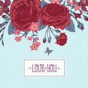 Beautiful Victorian Roses in Vintage Style for Invitation Card - stock illustration