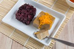 Thai Dessert : Sticky rice with egg steamed custard - stock photo